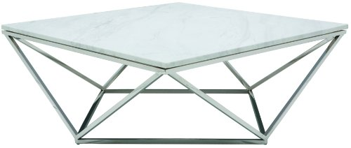 Nuevo Jasmine Square Marble Top Coffee Table in Silver and W