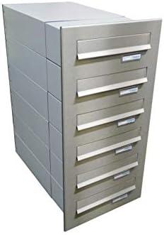 LETTERBOX24.de B-042 - Sistema de buzón con placa para nombre (6 unidades, acero inoxidable, profundidad: 39-62 cm)