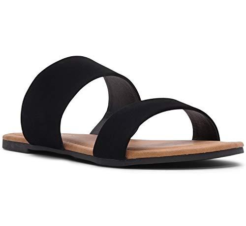 Charles Albert Two Strap Sandal Slide On Flip Flop (8 M US, Black)