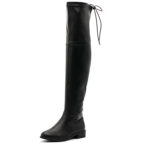 Ollio Women Shoe Adjustable Drawstring Stretch Faux Leather Over The Knee Zip Up Long Boots TWB21(7.5 B(M) US, Black)
