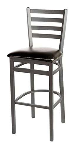 Oak Street SL2301SV-ESP  Silver Vein Ladder Back Metal Frame Bar Stool with Espresso Vinyl Seat, 43