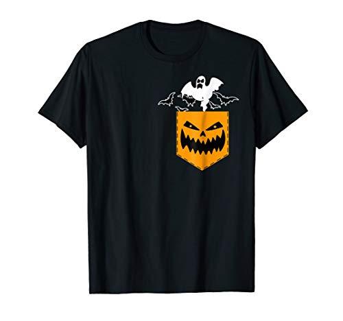 Halloween Pocket T-shirt Ghost Bats Pumpkin Scary Face