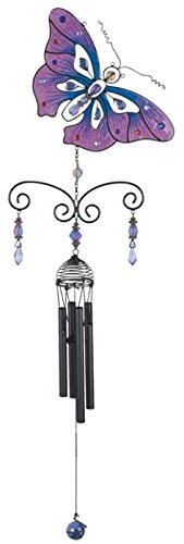 StealStreet SS-G-99935 Black Coated Gems Butterfly Hanging Garden Decoration Wind Chime