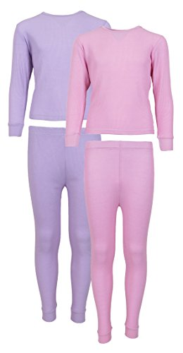Sweet & Sassy Girl's 2-Pack Thermal Warm Underwear Top and Pant Set-Medium Pink/Lavender-3T