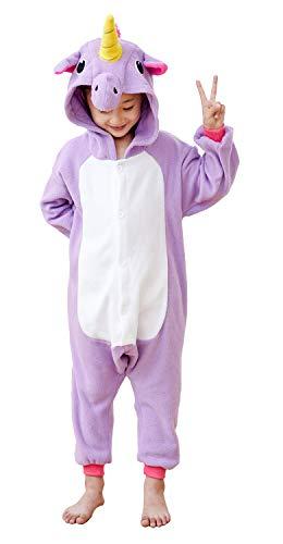 Vivimeng Children Unicorn Onesies Pyjamas Anime Cosplay One Piece Halloween Costume Purple New Kids-6 ()