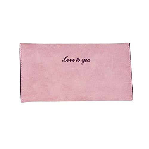 borsa delle pacchetto portafoglio Pu inglesi semplici Piccola ragazze donne rosa per ti cuoio parole amo Lady di Pu carta dtqg7
