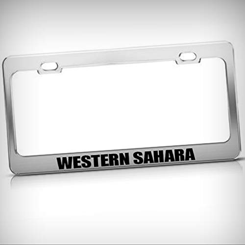 (Western Sahara Chrome Country Metal Tag Holder License Plate Frame Decorative Border - Novelty Plate \ Sign for Home Garage Office Decor)