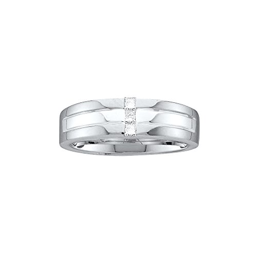 14kt White Gold Mens Princess Channel-set Diamond Single Row Wedding Band Ring 1/6 Cttw by JawaFashion