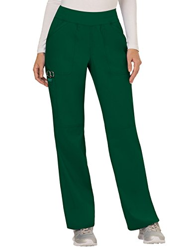 Cherokee Women's Mid Rise Straight Leg Pull-on Pant, Hunter Green, XXX-Large