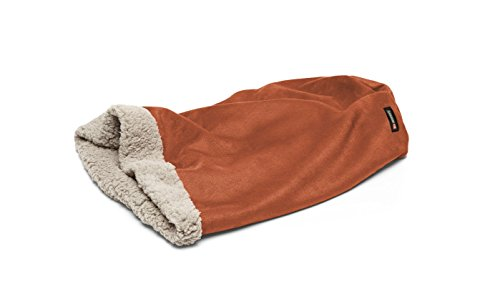 Big Shrimpy Den Pocket Bed for Dogs, Faux Suede and Fleece, Medium, Paprika - Machine Washable Sleeping Bag Style Dog Bed with a Super Plush Berber Fleece Lining, for Small - Bed Berber Dog