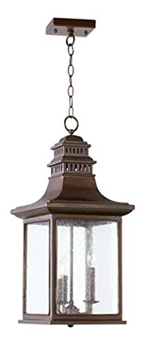 Three Light Oiled Bronze Clear Seeded Glass Hanging Lantern