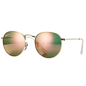 Pro Acme PA3447 Classic Crystal Glass Les Retro Round Metal Sunglasses,50mm (Crystal Pink Mirrored Lens)