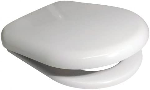 Euroshowers 86511 White D Shape Soft Close Toilet Seat with Standard and Top Fix/Blind Hole Fittings and Push Button Quick Release Hinges