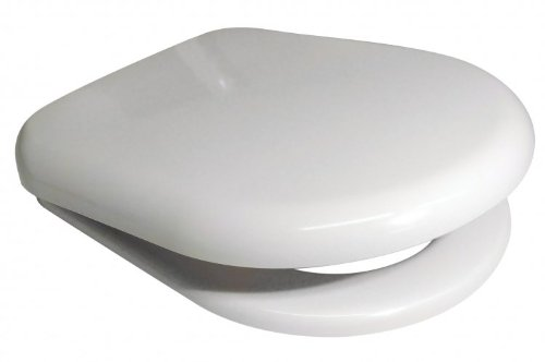 Euroshowers 86511 WHITE D SHAPE Soft Close Toilet Seat with Standard and Top Fix/Blind Hole Fittings and PUSH BUTTON Quick Release Hinges 86510