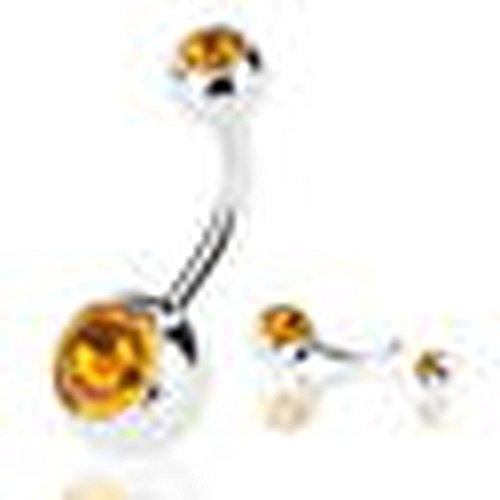 Rolex Jewells 1.6mm(14G) Jewelry Belly Navel Button Ring White Gold Finish Silver Plated w/ 2ct Yellow Citrine