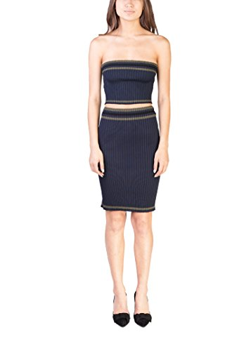 Prada Women's Knitted Striped Tube Top Skirt Set Navy - Prada Miu Miu