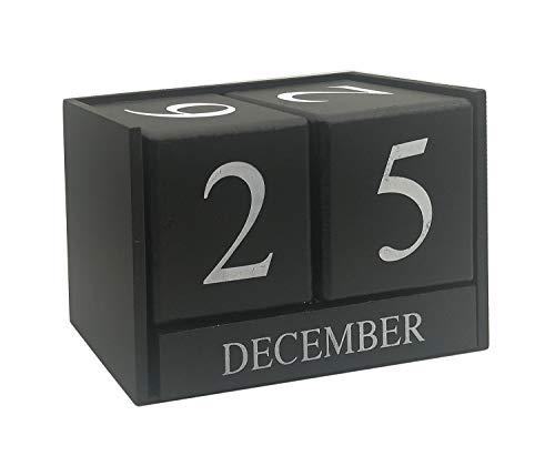 Calendar Blocks - Wooden Desk Calendar - Home and Office Decor(Black), 6.1 x 3.9 x 2.9 inches by MICKYU
