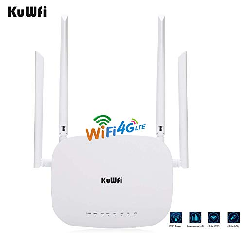 KuWFi 4G LTE SIM WiFi Router 300Mbps Unlocked CPE Wireless Router with SIM Card Slot Fixed External Wi-Fi Antennas for Most Asia Europe Africa Middle East and South America Oceania Country