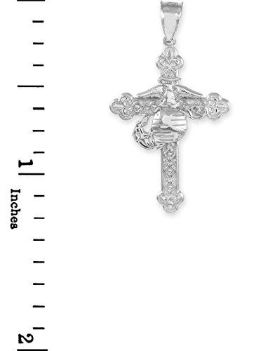 """10 ct 471/1000 Or Blanc """"United States Marine"""" Chretien Croix Pendentif"""