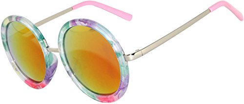 Retro Round Floral Women's Sunglasses Colored Plastic Frame Fire Mirror Lens - Sunglasses Round Flower