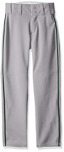 Alleson Ahtletic Boys Youth Baseball Pants with Braid, Grey/Dark Green, Small