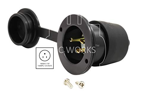 AC WORKS [ASIN515P-WC 15-Amp 125-Volt NEMA 5-15P Flanged Power Input Inlet with Covers by AC WORKS (Image #1)