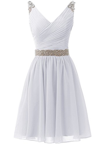 SOLOVEDRESS Women's Short Bridesmaid Prom Dress V Neck Homecoming Dress Evening Gown (White,US 16)