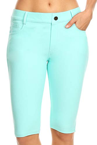 ICONOFLASH Women's Turquoise Bermuda Shorts 2XL - Pull On Knee Length Jeggings Pockets Jean Leggings 2X-Large