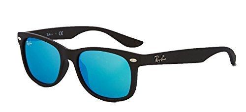 Polarized Blue Mirror Sunglasses - Ray-Ban RB2132 New Wayfarer Sunglasses Unisex 100% Authentic (Matte Black Frame Blue Mirror Lens, 52)