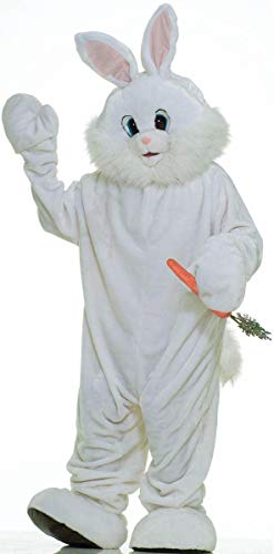 Forum Deluxe Plush Bunny Rabbit Mascot Costume, White, One Size -
