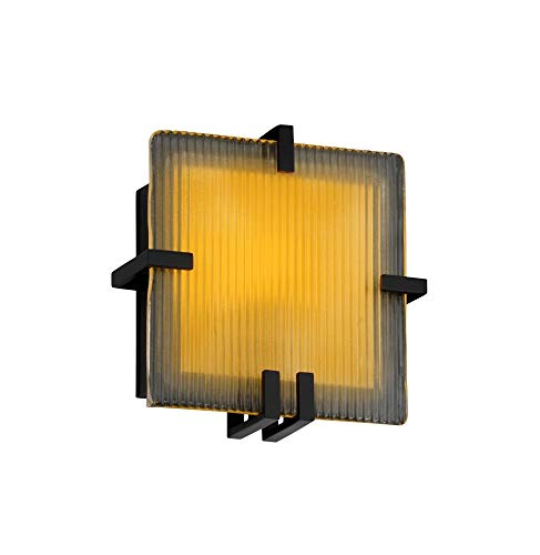 Justice Design Group GLA-5550-LACE-MBLK Clips 1 Light Square Wall Sconce from the Veneto Luce Collection