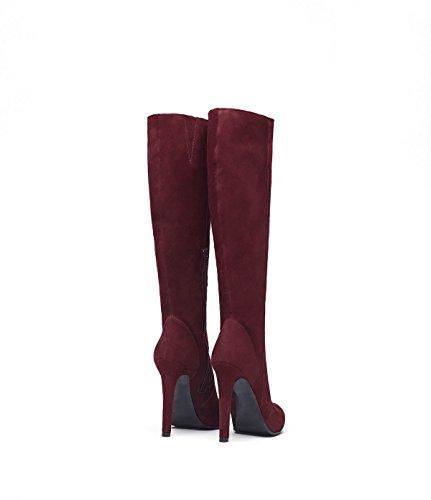 PoiLei Olivia - Damen-Schuhe / eleganter High-Heel Langschaft-Stiefel aus Velours-Leder - spitz-zulaufend, mit Stiletto-Absatz und schöner Zier-Naht - bordeaux
