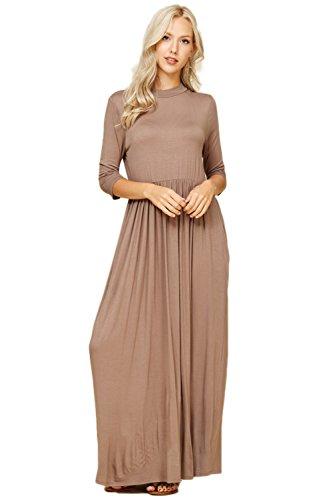 Sleeve Women's Annabelle Long Dresses 3 Mocha Maxi with 4 Pockets Side t4wASqA6