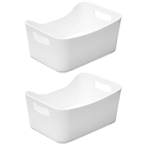 YBM HOME Open BIN Storage Basket Kitchen Pantry, Bathroom Vanity, Laundry, Health and Beauty Product Supply Organizer, Under Cabinet Caddy (Medium - 2 Pack, White)