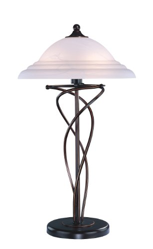 Lite Source Glass Shade (Lite Source LS-3640D/BRZ Majesty Table Lamp, Dark Bronze with Cloud Glass Shade)