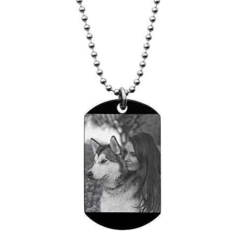 Queenberry Photo Engraving Pendant One Side Personalized Custom Dog Tag Necklace 24' Stainless Steel - Handmade Birthday Graduation Anniversary