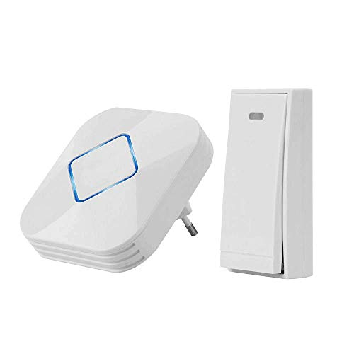 Dinly Wireless Doorbell Waterproof Chime Kit with LED Flash, Over 600 Feet Operating Range With 4 Levels Volume & 58 Chimes, W658