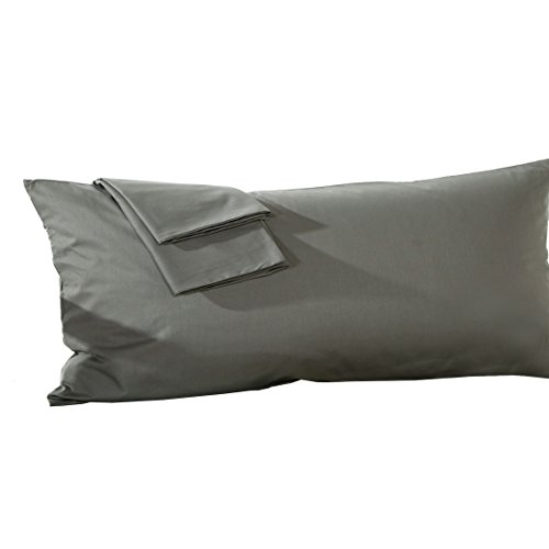 uxcell Body Pillowcase Pillow Cover, Egyptian Cotton 250 Thread Count, 1-Piece, Fits 20 x 48 Inches, Dark Gray