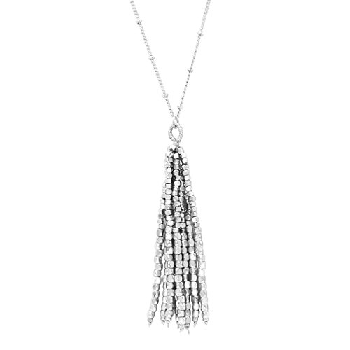- Rosemarie Collections Women's Shiny Bead Tassel Long Pendant Necklace (Silver Color)