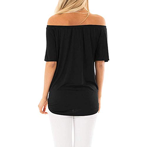 Snowlily Blouse for Women,Summer Fashion Shirt Short-Sleeved Off-The-Shoulder Button-up Top Elastic Short-Sleeved T-Shirt Black ()