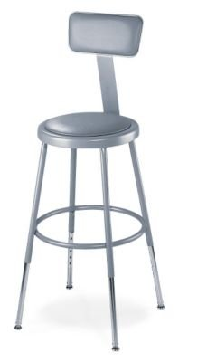 6400 Series Heavy-Duty Padded Stool with Backrest - 31 1/2