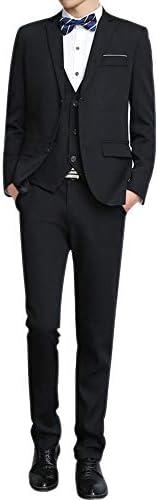 XFentech メンズ スーツ 3点セット - 結婚式 ディナー ビジネス カジュアル ジャケット&パンツ&ジレ ベスト