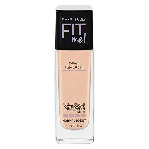 Maybelline New York Fit Me Dewy + Smooth Foundation, Ivory, 1 Fl. Oz (Pack of 1) (Packaging May Vary)