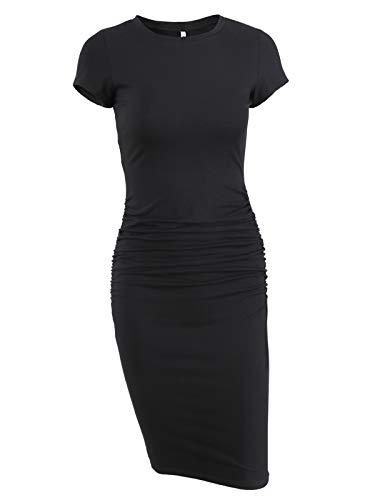 Missufe Women's Ruched Bodycon Sundress Knee Length Sheath Casual T Shirt Dress (Black, ()