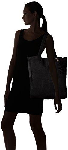 Bianco Damen Suede Shopper Jfm17 Schultertasche, Schwarz (Black), Einheitsgröße