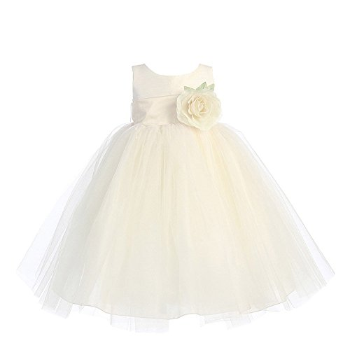 Blossom Poly Silk Bodice & Tulle Skirt Flower Girl Dress (3T, Ivory/Ivory)