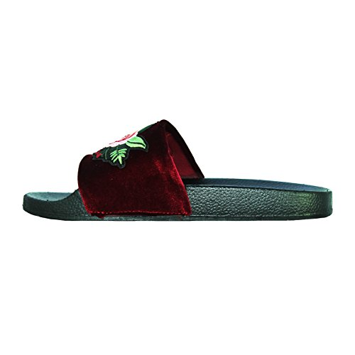 Open Floral JJ Slipper Burgundy Comfort Embroidery Women's Shoes Special Flat Toe Velvet r0wqt01A