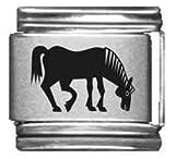 Horse Grazing Laser Italian Charm