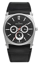 Skagen Men's 759LSLB1 Black Dial Chronograph With Black Leather Band Watch