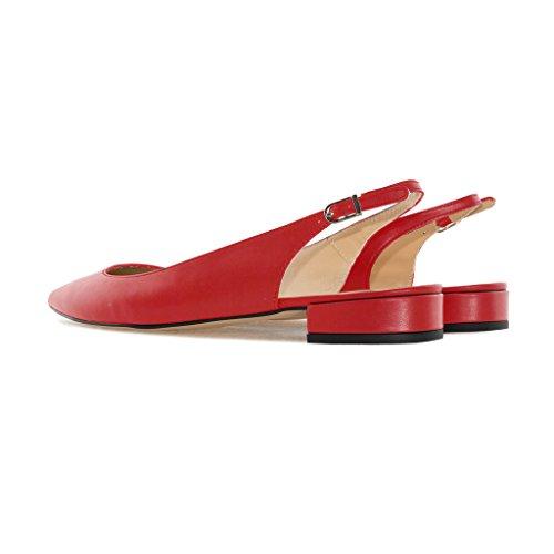 Cheville été l'arrière Ouvertes 2cm Low Heel à Lanière Soireelady Rouge Pumps Escarpins Chaussures 1 Femmes tqRPn0wA